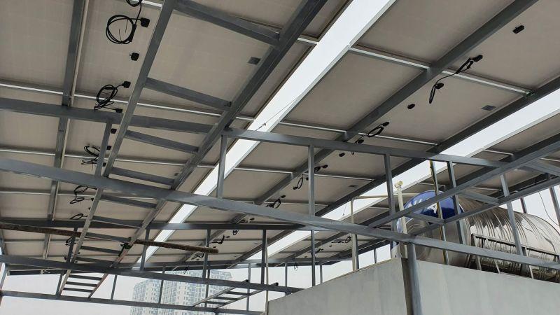 mô hình lắp đặt điện năng lượng mặt trời trên mái bằng